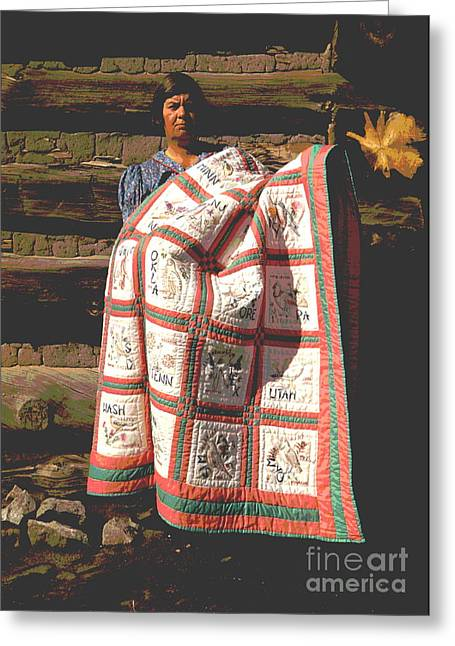 Mrs. Bill Stagg With State Quilt Greeting Card
