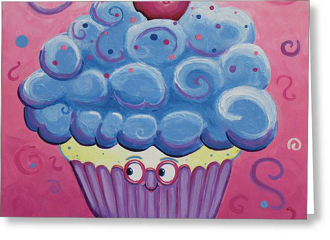 Mrs. Blue Cupcake Greeting Card by Jennifer Alvarez