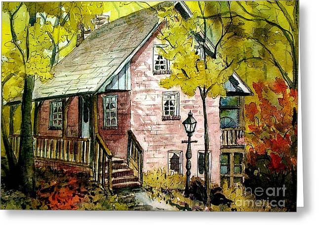 Greeting Card featuring the painting Mrs. Henry's Home 2 by Gretchen Allen