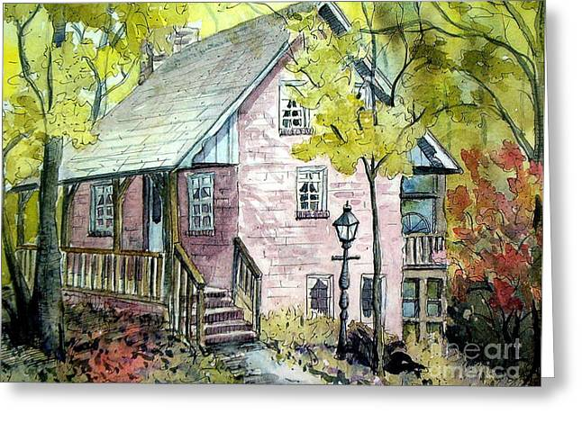 Greeting Card featuring the painting Mrs. Henry's Home by Gretchen Allen