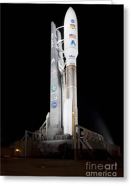 Msl Rocket Stands Ready For Launch Greeting Card