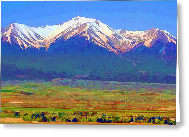 Greeting Card featuring the digital art Mt. Princeton Morning by Brian Davis