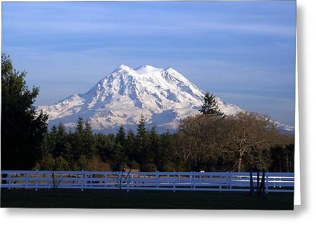 Mt. Rainier Fenced In Greeting Card