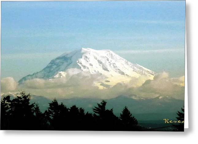 Mt. Rainier In Cloud Blanket Greeting Card by Sadie Reneau