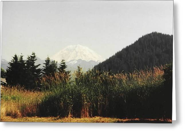 Greeting Card featuring the photograph Mt. Rainier In Hiding by Sadie Reneau