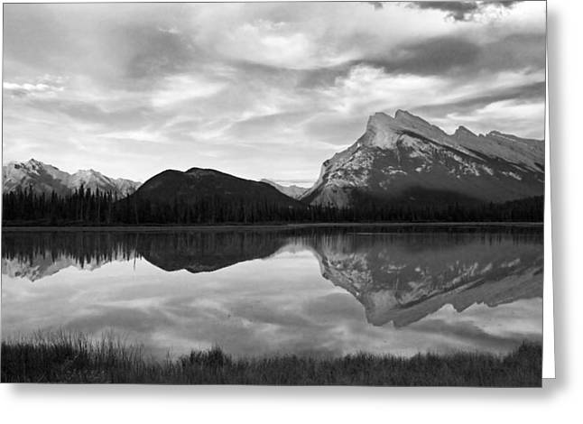 Greeting Card featuring the photograph Mt. Rundel Reflection Black And White by Andrew Serff