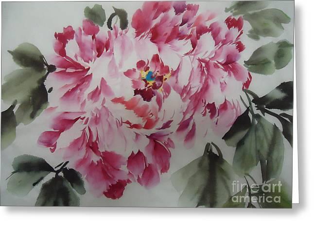 Mudan Greeting Card by Dongling Sun