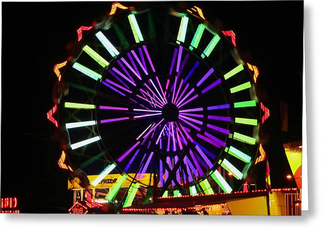 Greeting Card featuring the photograph Multi Colored Ferris Wheel by Kym Backland
