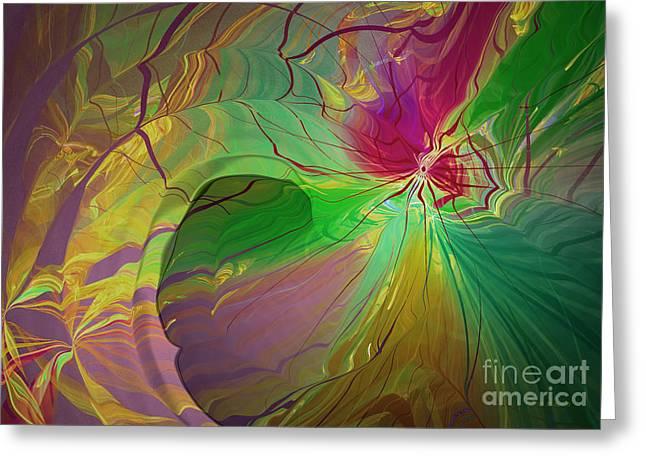 Multi Colored Rainbow Greeting Card by Deborah Benoit