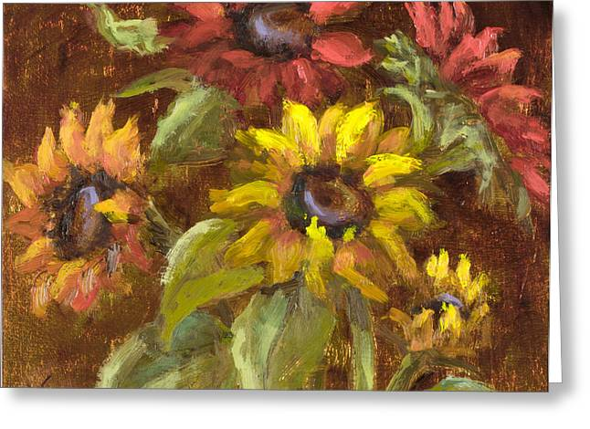 Multicolored Sunflowers With Gold Leaf By Vic Mastis Greeting Card by Vic  Mastis