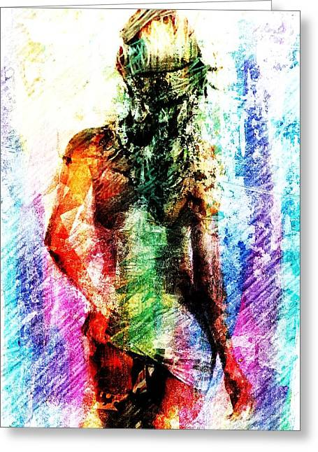 Greeting Card featuring the digital art Multicolorwoman by Andrea Barbieri