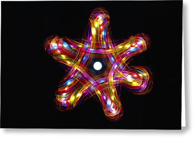 Multicoloured Lights Greeting Card by Lawrence Lawry