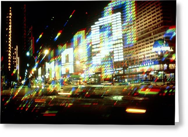 Multiple-exposure Photograph Of Moscow City Lights Greeting Card