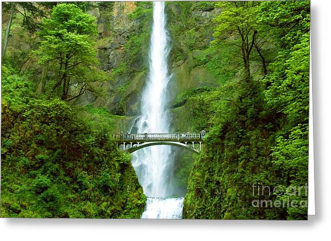 Multnomah Falls Bridge With Sightseers Close To Falls Greeting Card