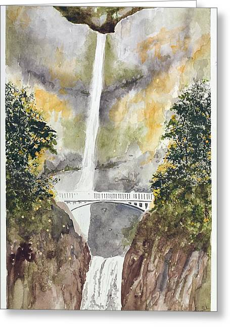 Multnomah Falls Greeting Card by Jean Moule