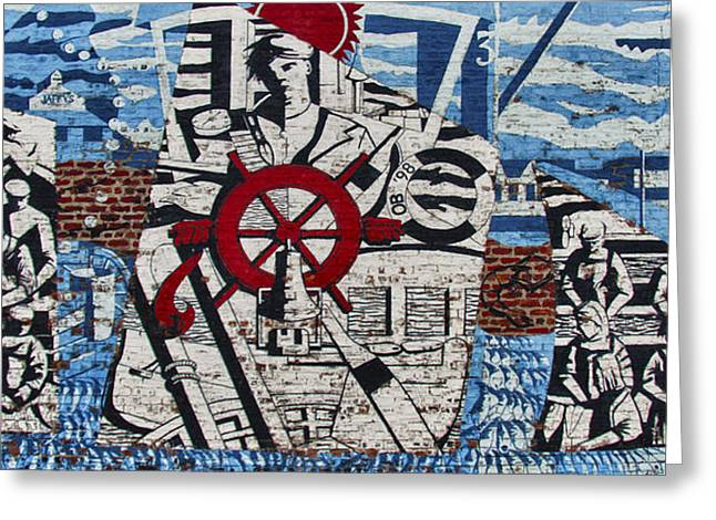 Mural On Wall At Mallaig Harbour In Scotland  Greeting Card by Zoe Ferrie
