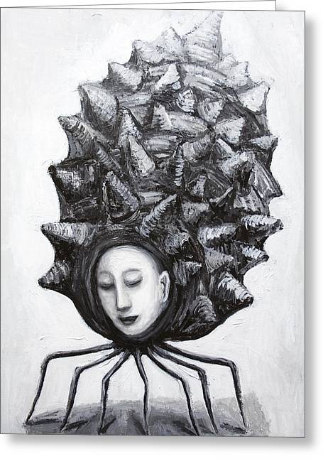 Muse In A Shell Greeting Card by Kazuya Akimoto