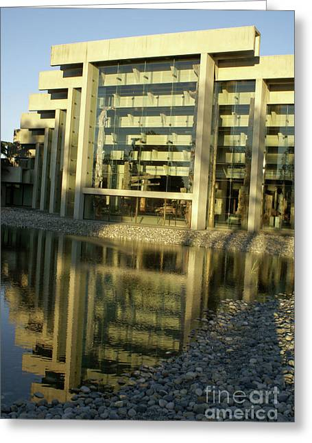 Museum Of Anthropology Reflection Vancouver Canada Greeting Card by John  Mitchell