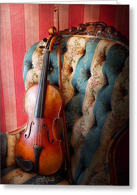 Music - Violin - Musical Elegance  Greeting Card by Mike Savad