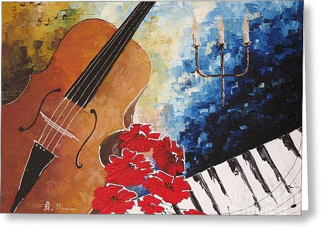 Music 2 Greeting Card by AmaS Art