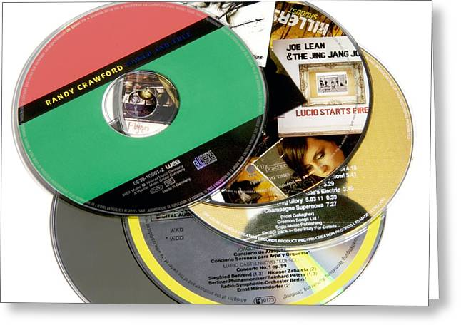 Music Cds Greeting Card by Johnny Greig