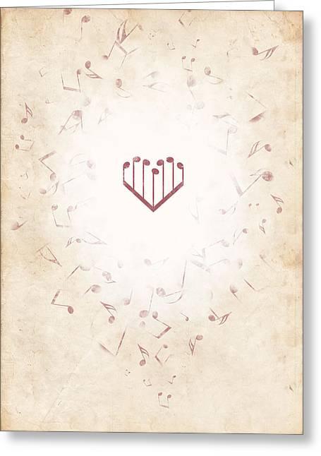 Music Heart Warm Greeting Card by Luka Balic