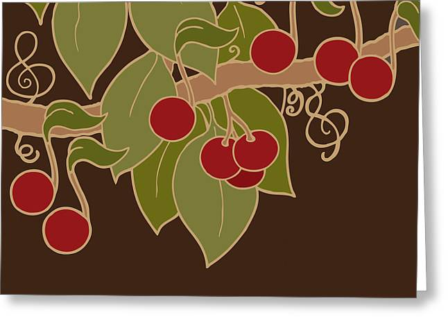 Musical Cherries Greeting Card