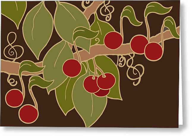 Musical Cherries Rectangle Greeting Card