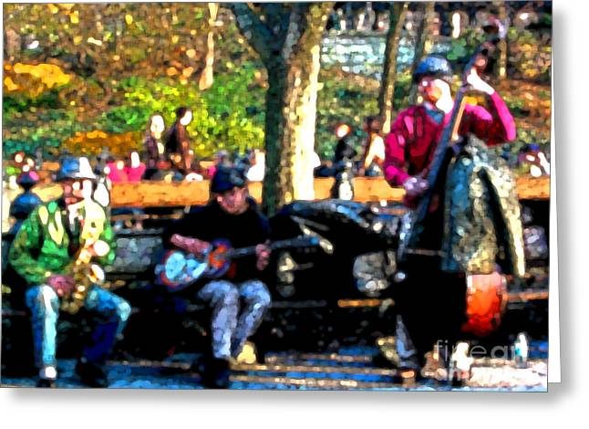 Musicians In Central Park Greeting Card by Anne Ferguson