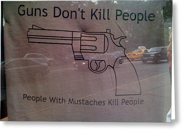 Mustache Killers Greeting Card by Jerry Patterson