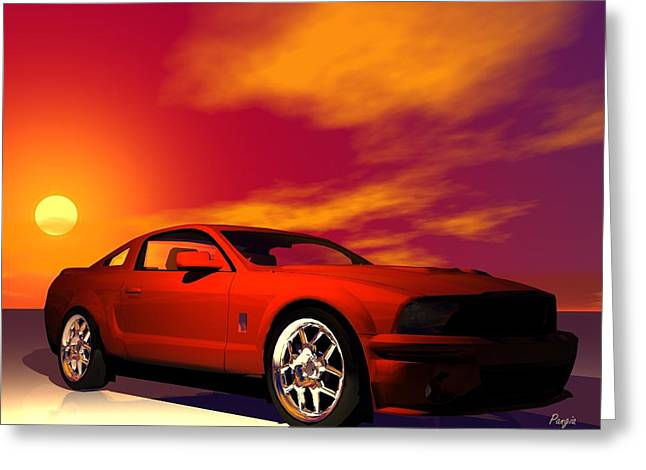 Greeting Card featuring the digital art Mustang Gt by John Pangia