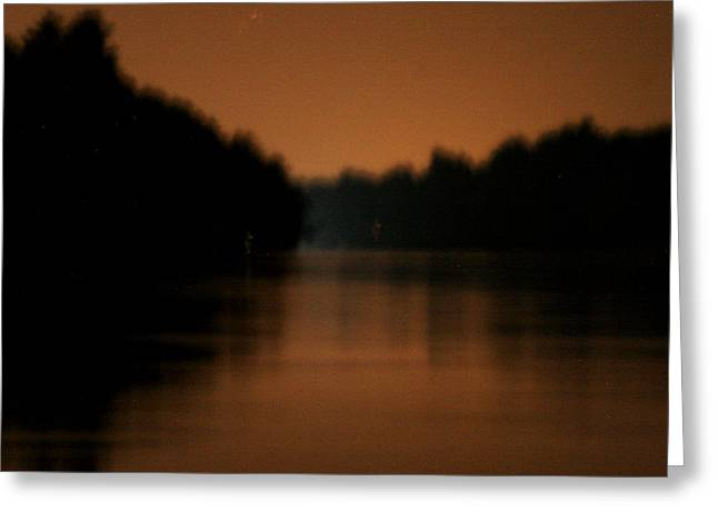 Muted River Moon Shine Greeting Card by Artist Orange
