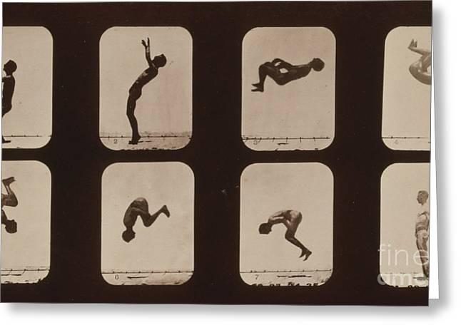 Muybridge Locomotion, Back Somersault Greeting Card