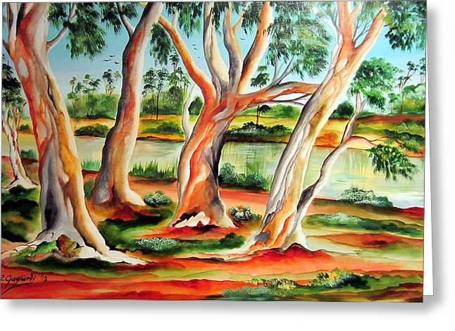 Greeting Card featuring the painting My Australia Passion by Roberto Gagliardi