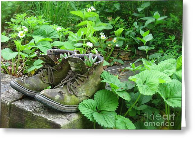 Greeting Card featuring the photograph My Favorite Boots by Nancy Patterson