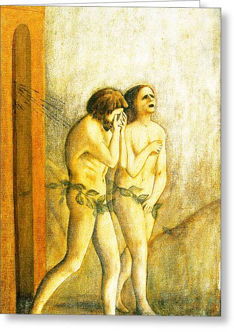 My Masaccio Expulsion Of Adam And Eve Greeting Card by Jerome Stumphauzer