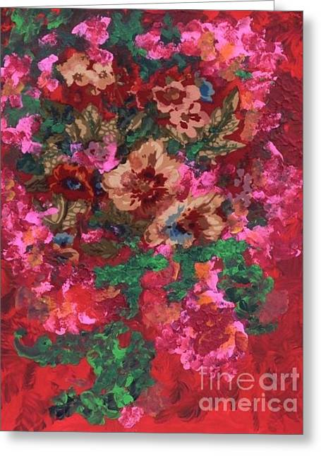 Greeting Card featuring the painting My Sister's Garden I by Alys Caviness-Gober