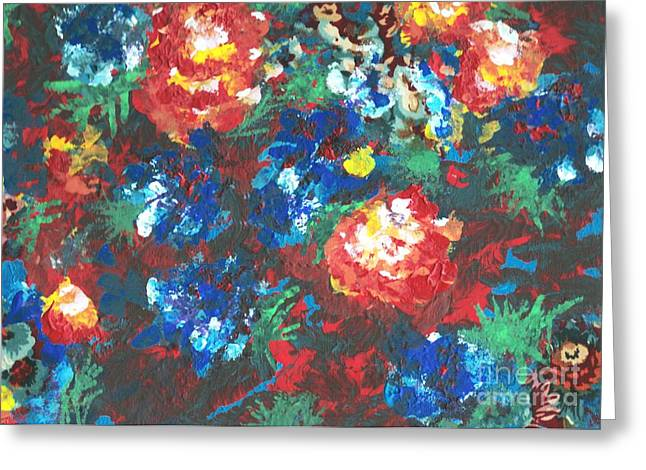 Greeting Card featuring the painting My Sister's Garden II by Alys Caviness-Gober