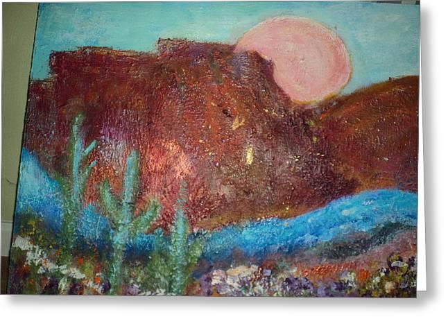 My Southwestern Landscape Work In Progress Greeting Card by Anne-Elizabeth Whiteway