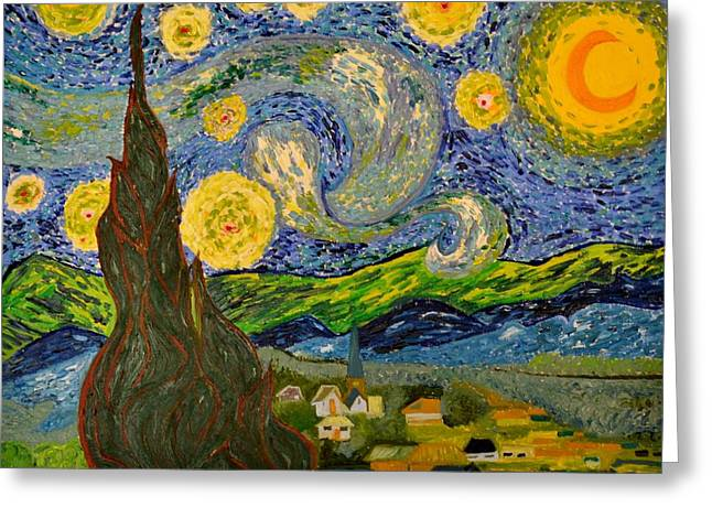 My Starry Night Inspired By The Master Vincent Van Gogh Greeting Card by Evelyn SPATZ