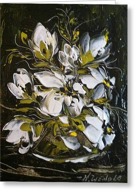 My White Roses Greeting Card by Helen Wendle