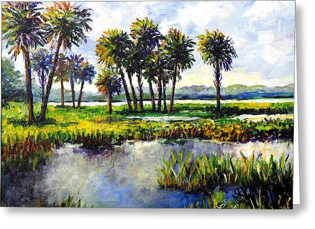 Greeting Card featuring the painting Myakka Lake by Lou Ann Bagnall
