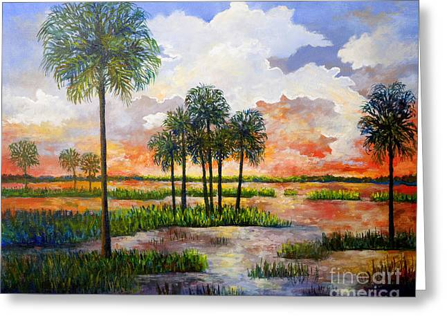 Myakka Sunset Greeting Card by Lou Ann Bagnall