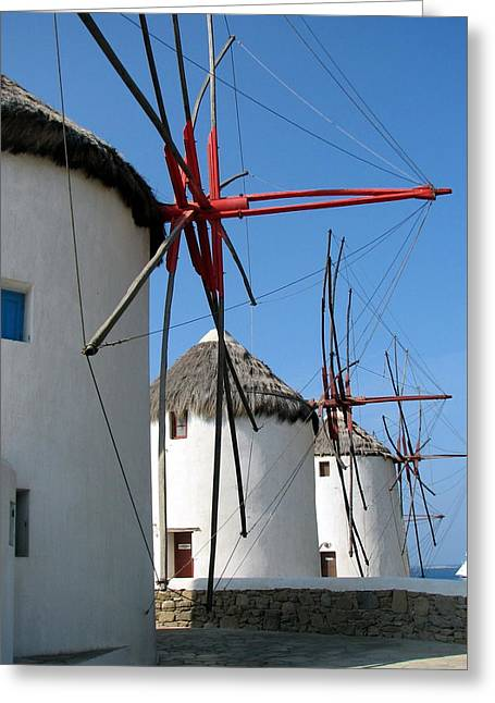 Greeting Card featuring the photograph Mykonos Windmills by Carla Parris