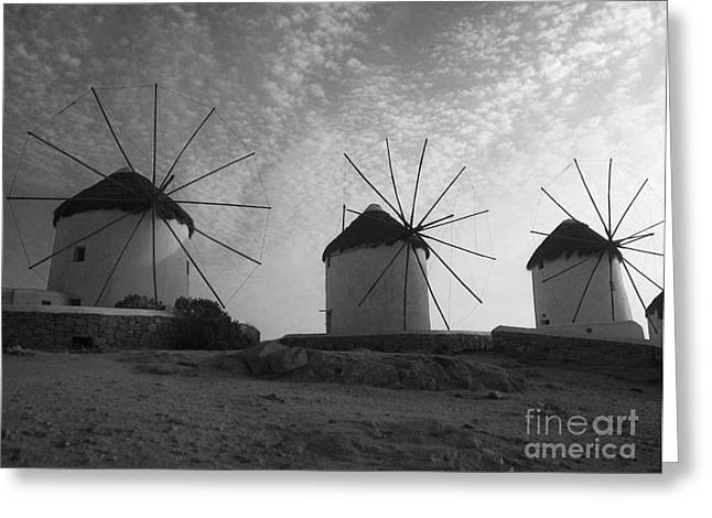 Mykonos Windmills Greeting Card by Leslie Leda
