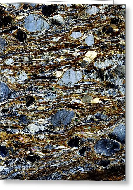 Mylonite Mineral, Light Micrograph Greeting Card