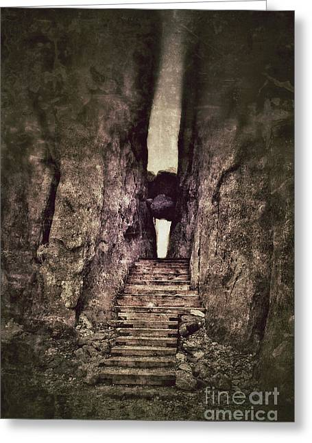 Mysterious Stairway Into A Canyon Greeting Card by Jill Battaglia