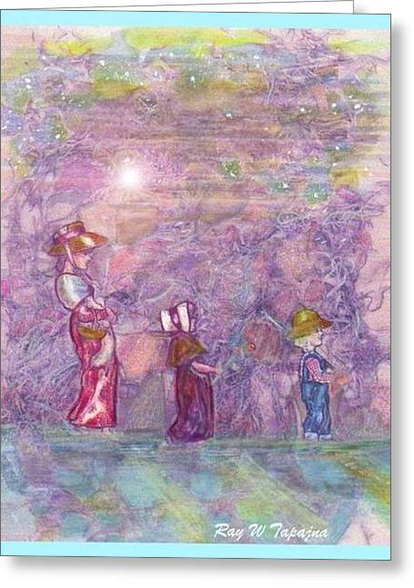 Greeting Card featuring the mixed media Mystical Stroll by Ray Tapajna