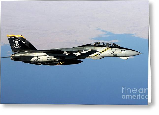 N F-14b Tomcat Flies Over Iraq Greeting Card by Stocktrek Images