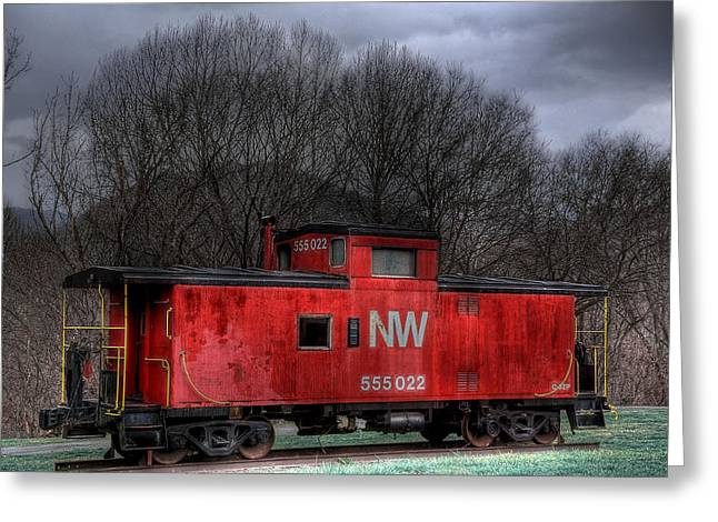 N W Caboose Greeting Card by Todd Hostetter